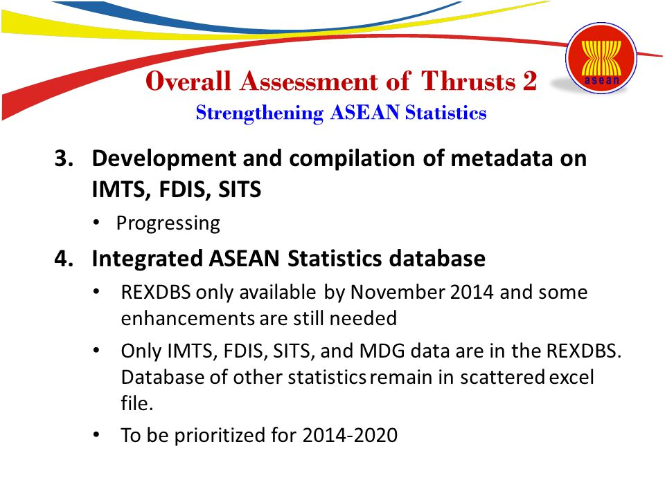 Overall Assessment of Thrusts 2 Strengthening ASEAN Statistics