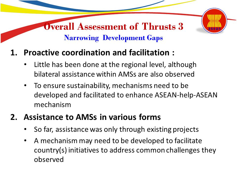 Overall Assessment of Thrusts 3 Narrowing Development Gaps