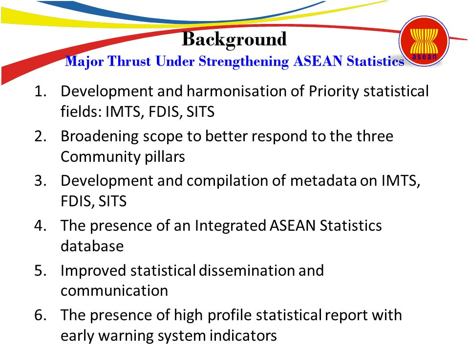 Background Major Thrust Under Strengthening ASEAN Statistics
