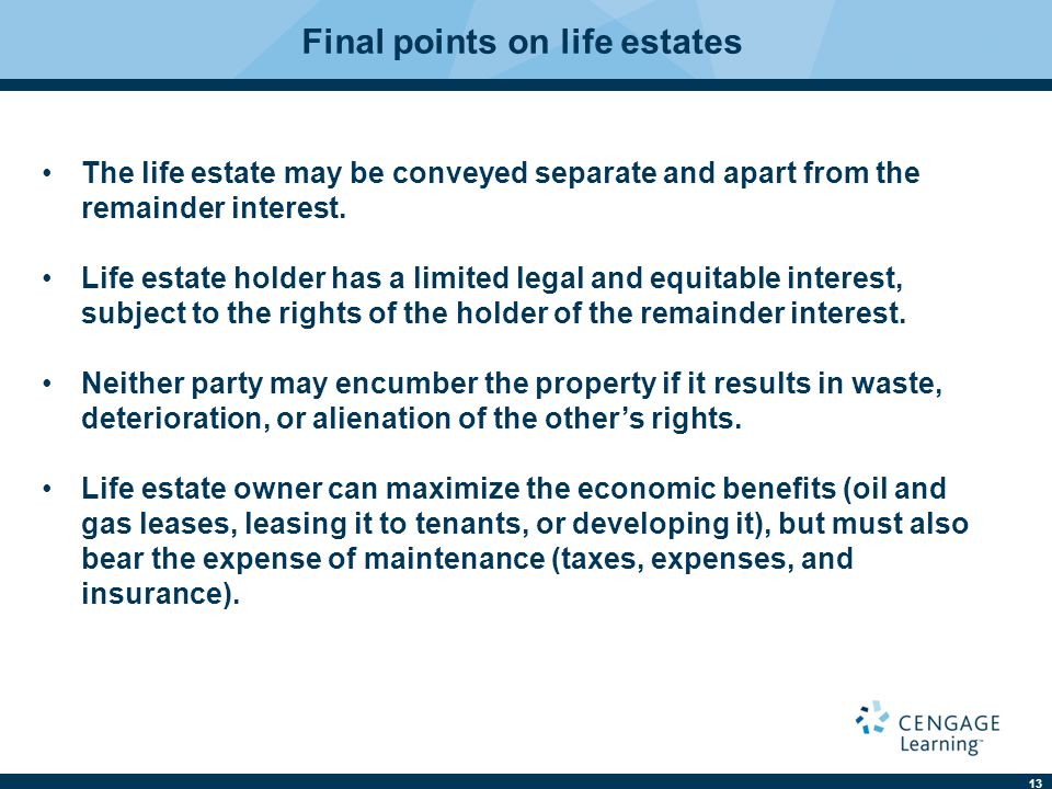 Final points on life estates