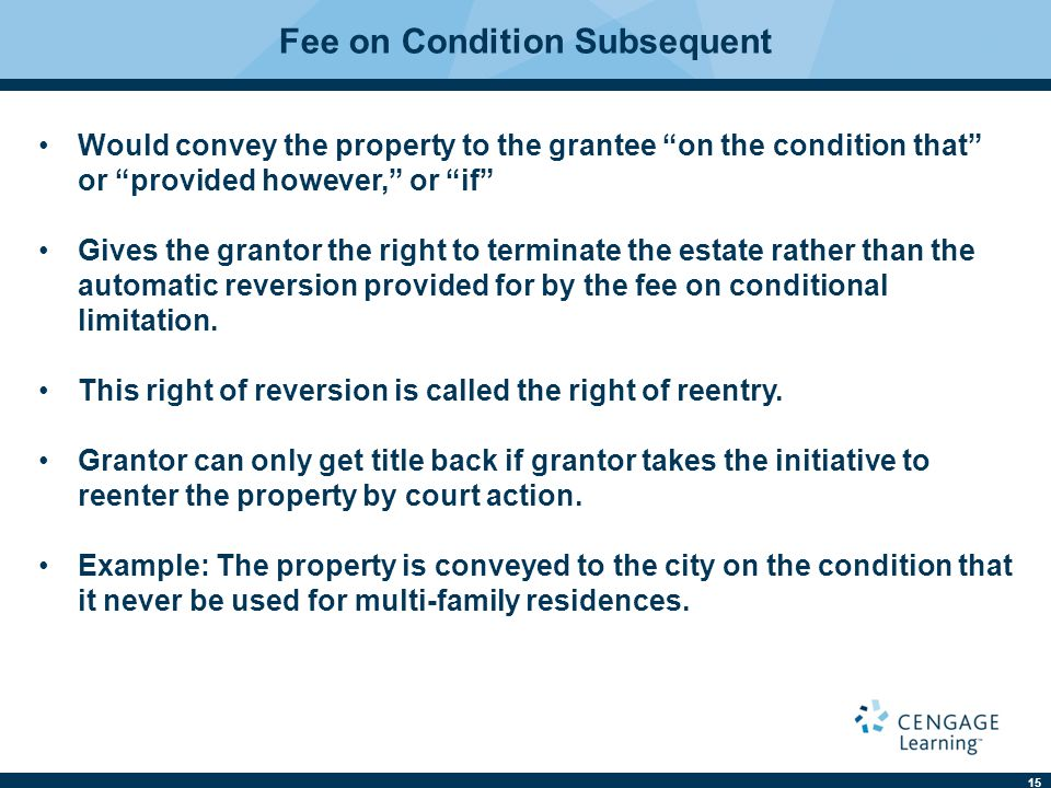 Fee on Condition Subsequent