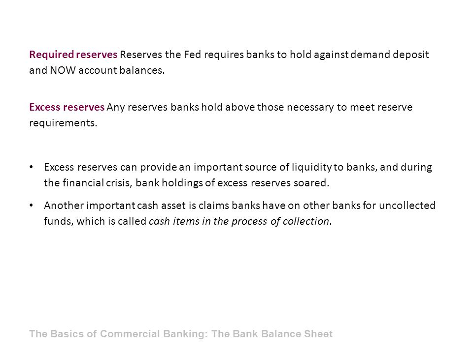 Required reserves Reserves the Fed requires banks to hold against demand deposit and NOW account balances.