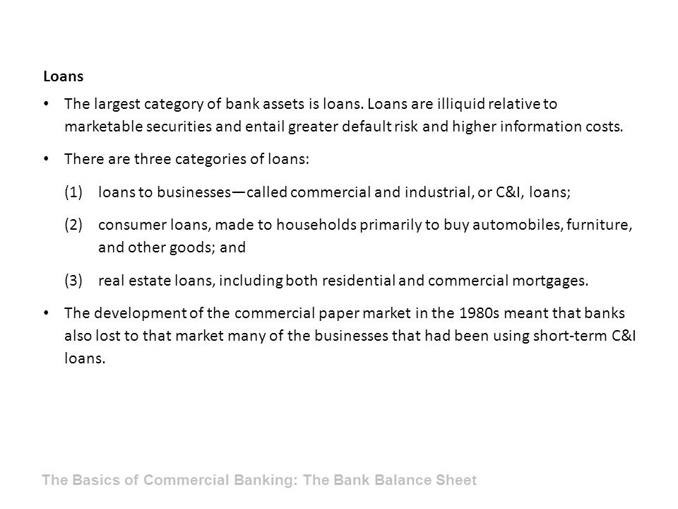There are three categories of loans: