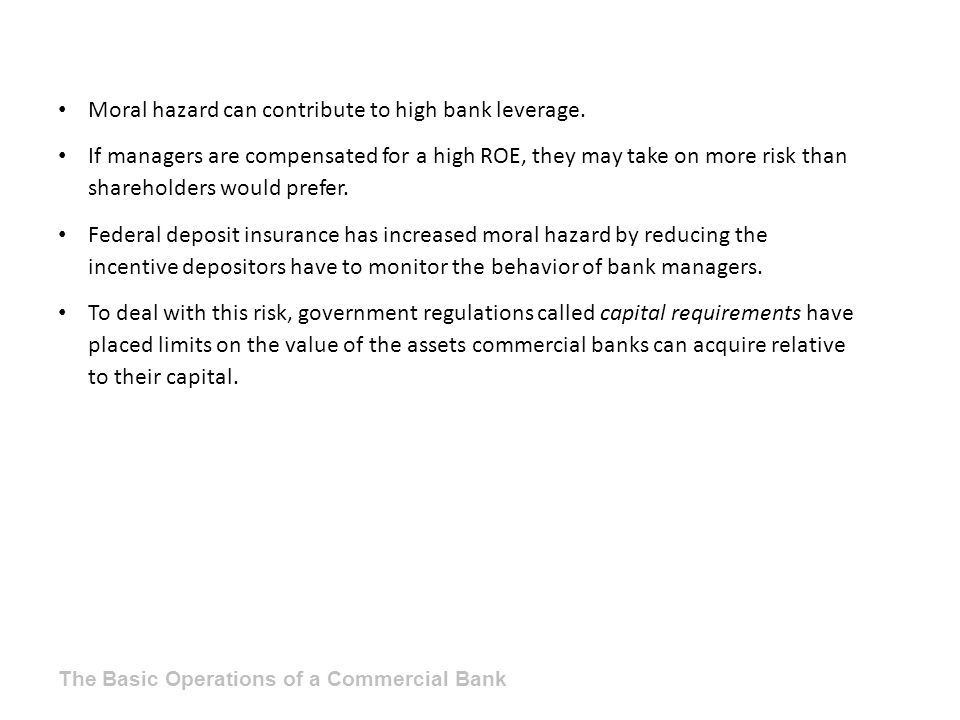 Moral hazard can contribute to high bank leverage.