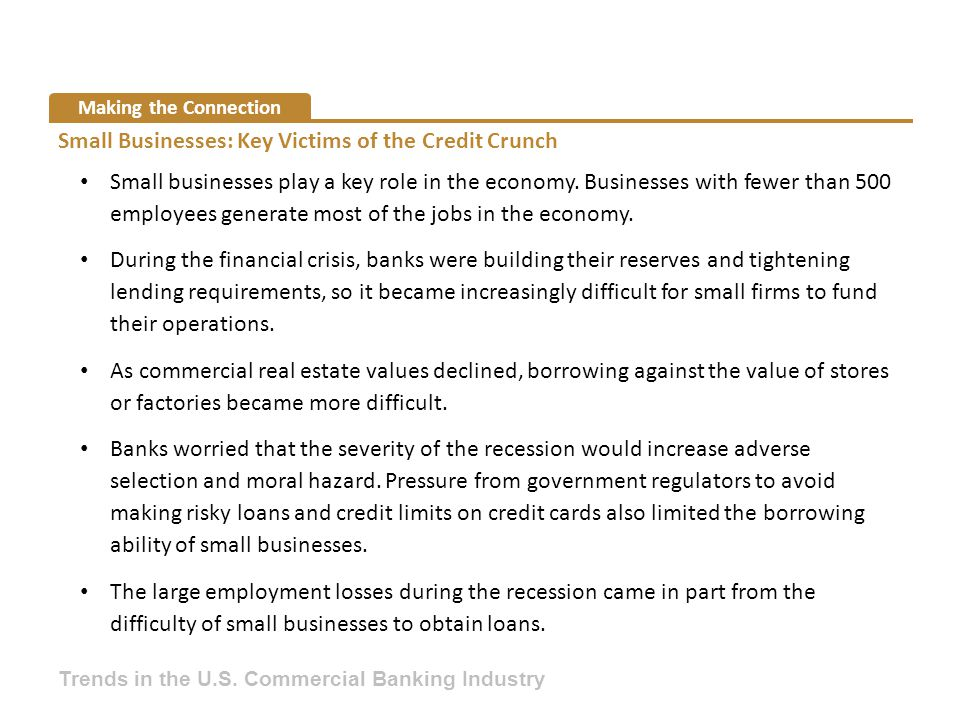 Small Businesses: Key Victims of the Credit Crunch