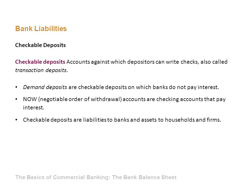 Bank Liabilities Checkable Deposits