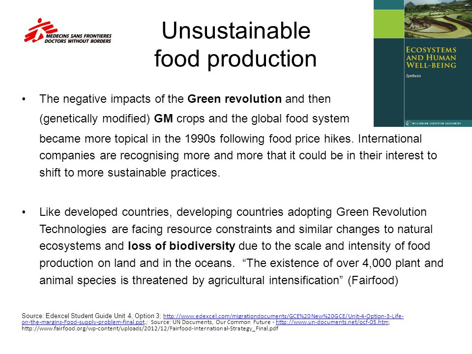 Unsustainable food production