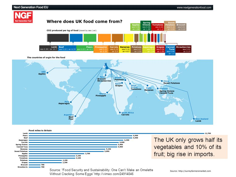 Note for teachers: It may be worthwhile discussing with students why we eat lamb from New Zealand or pears from Argentina; why we eat fruits and vegetables out of season. What are the reasons that the UK grows only a small percentage of its own food and what problems does it create