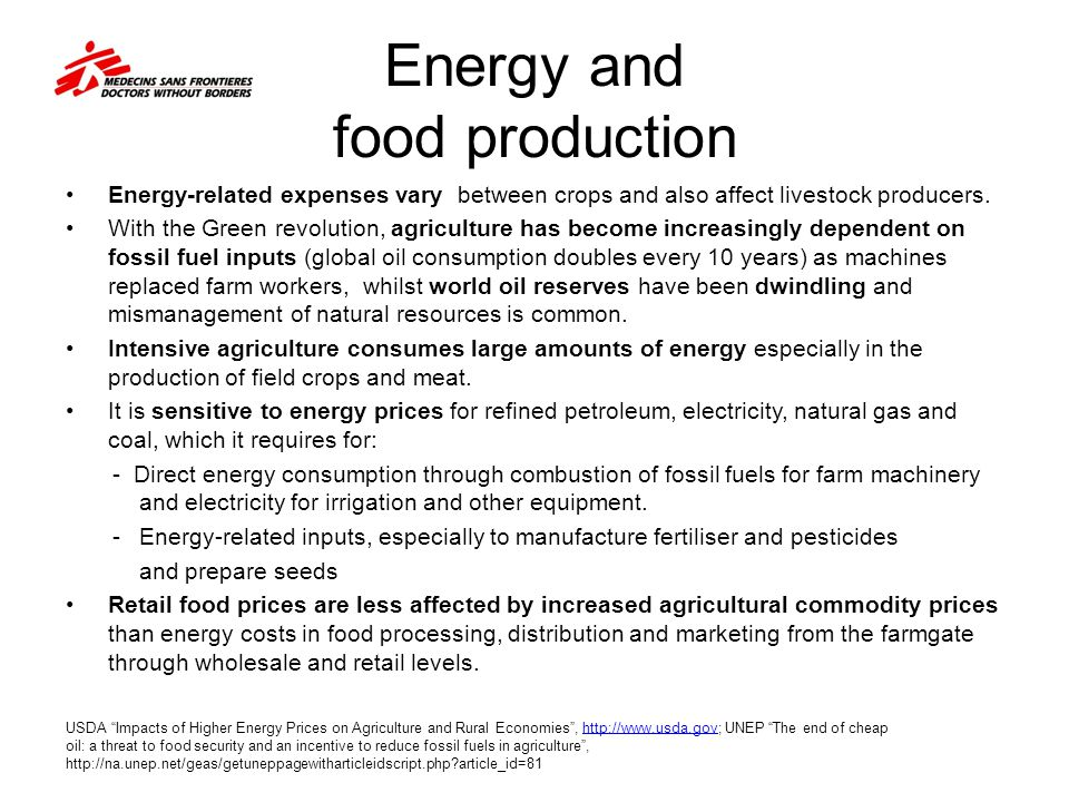 Energy and food production