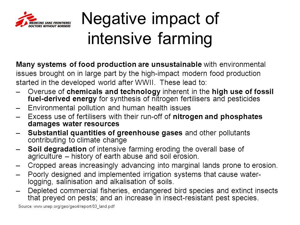 Negative impact of intensive farming