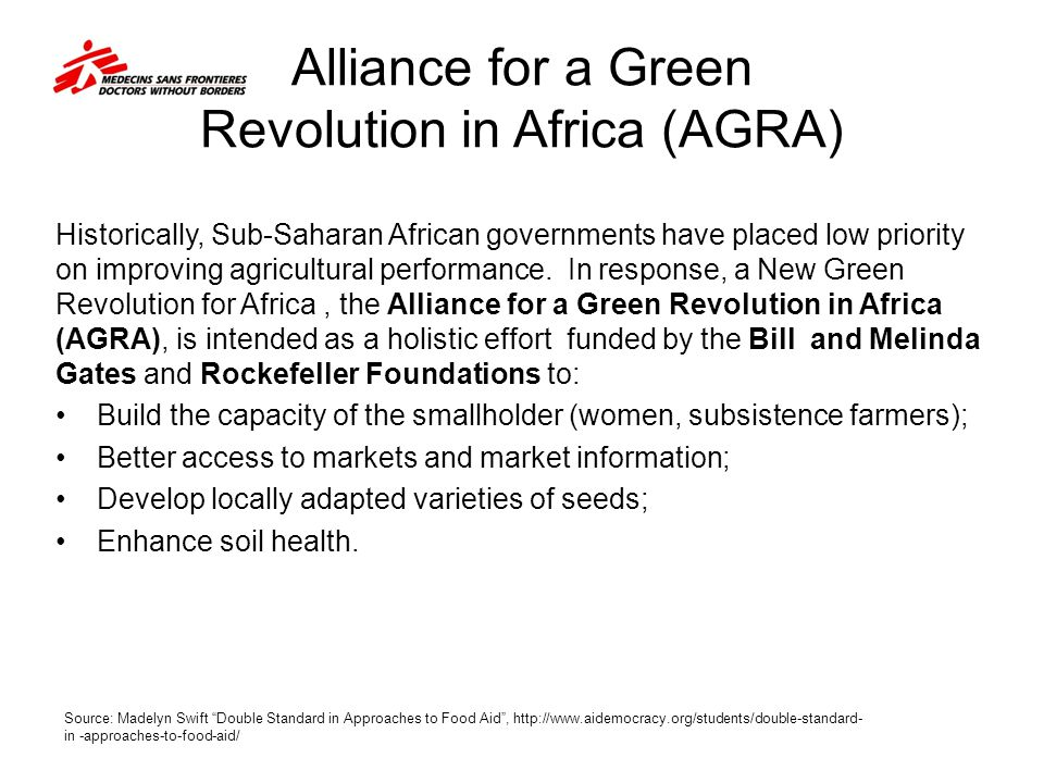 Alliance for a Green Revolution in Africa (AGRA)