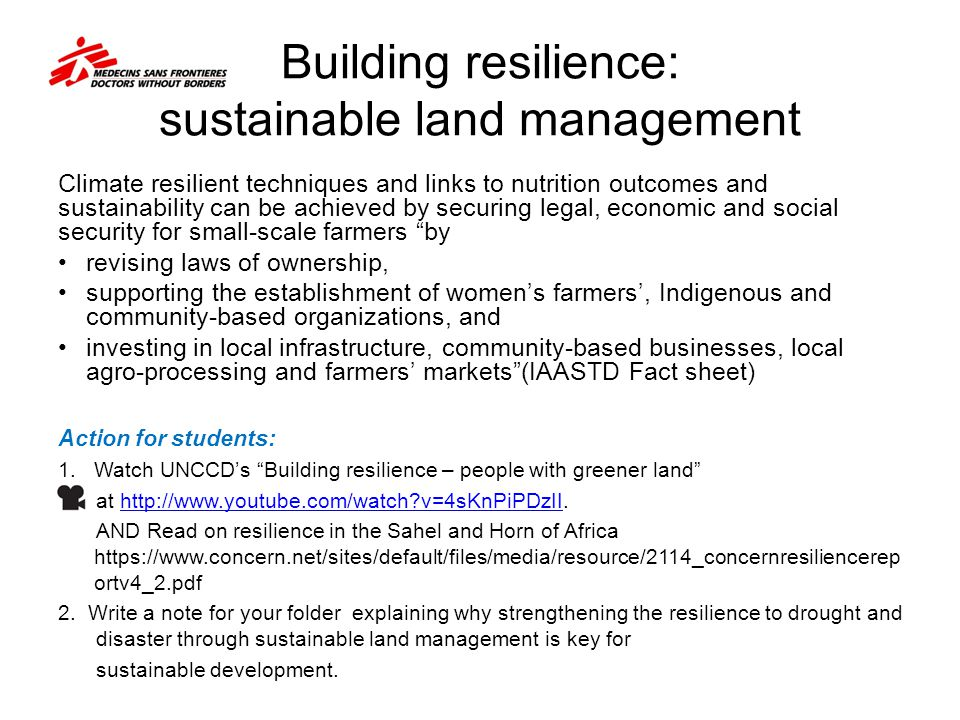 Building resilience: sustainable land management