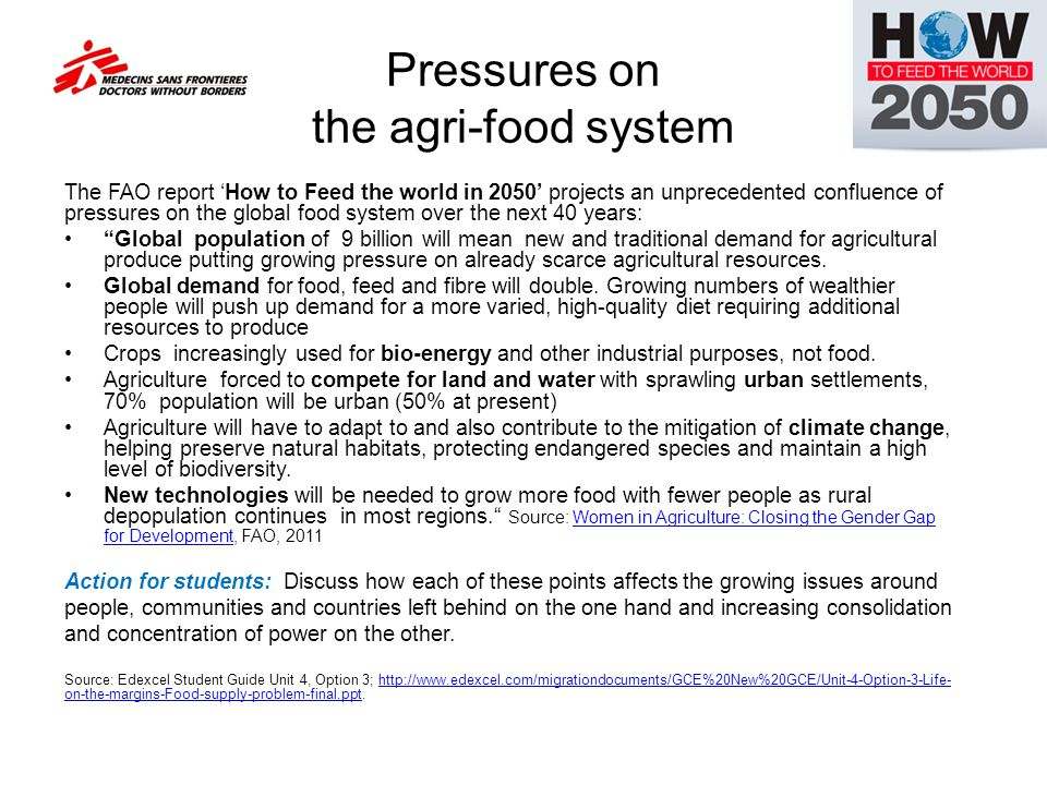 Pressures on the agri-food system