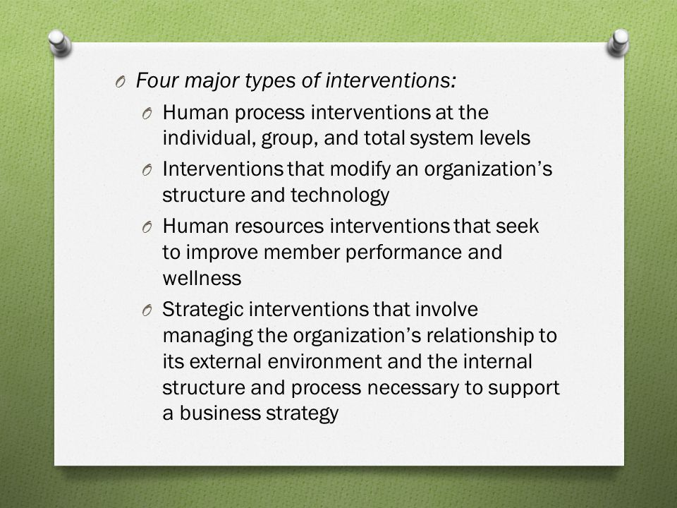 Four major types of interventions: