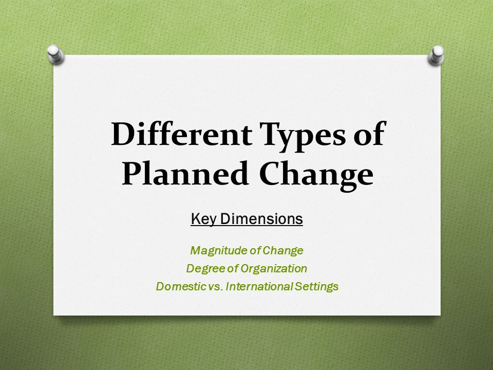 Different Types of Planned Change