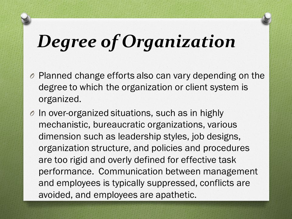 Degree of Organization