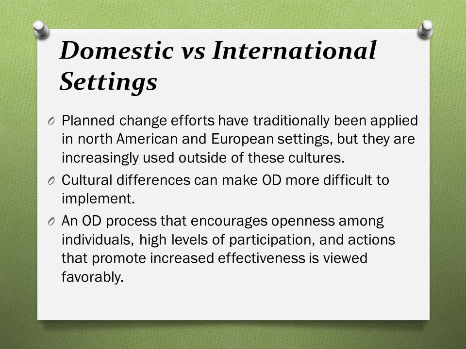 Domestic vs International Settings