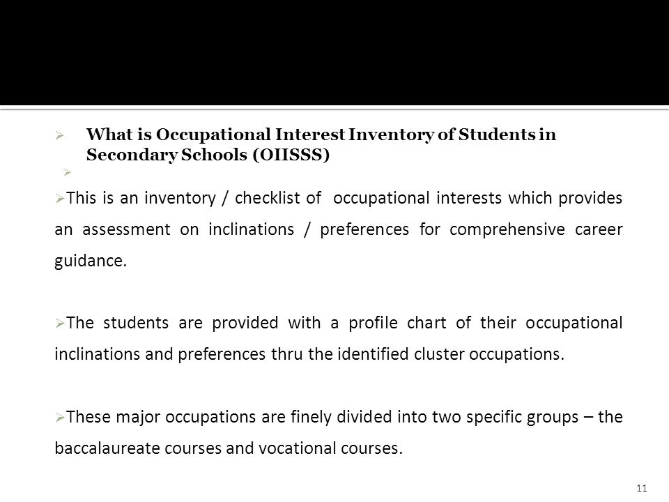 What is Occupational Interest Inventory of Students in Secondary Schools (OIISSS)