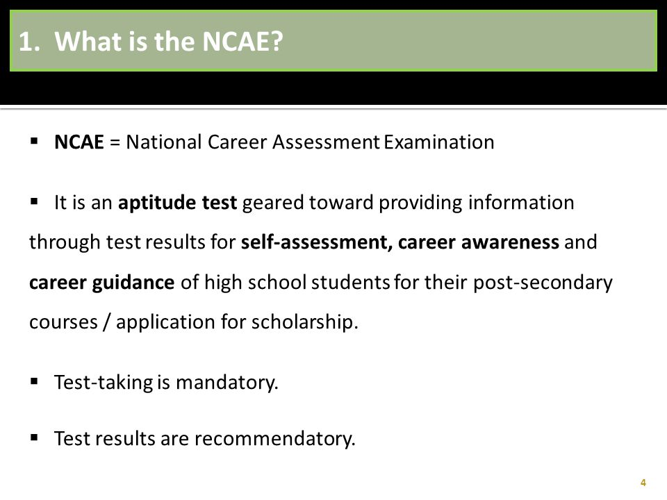 1. What is the NCAE NCAE = National Career Assessment Examination