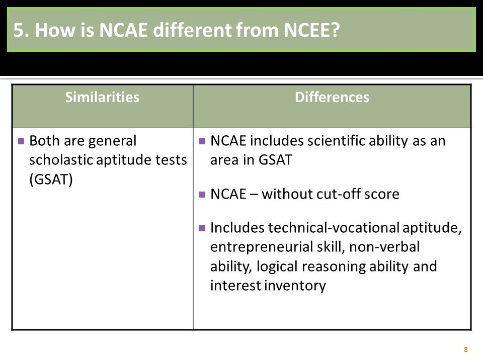 5. How is NCAE different from NCEE