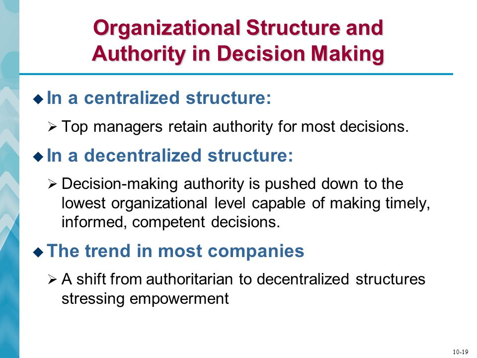 Organizational Structure and Authority in Decision Making