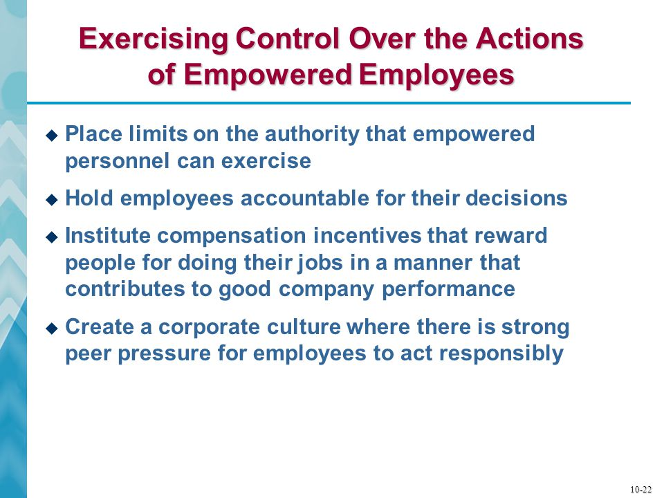 Exercising Control Over the Actions of Empowered Employees