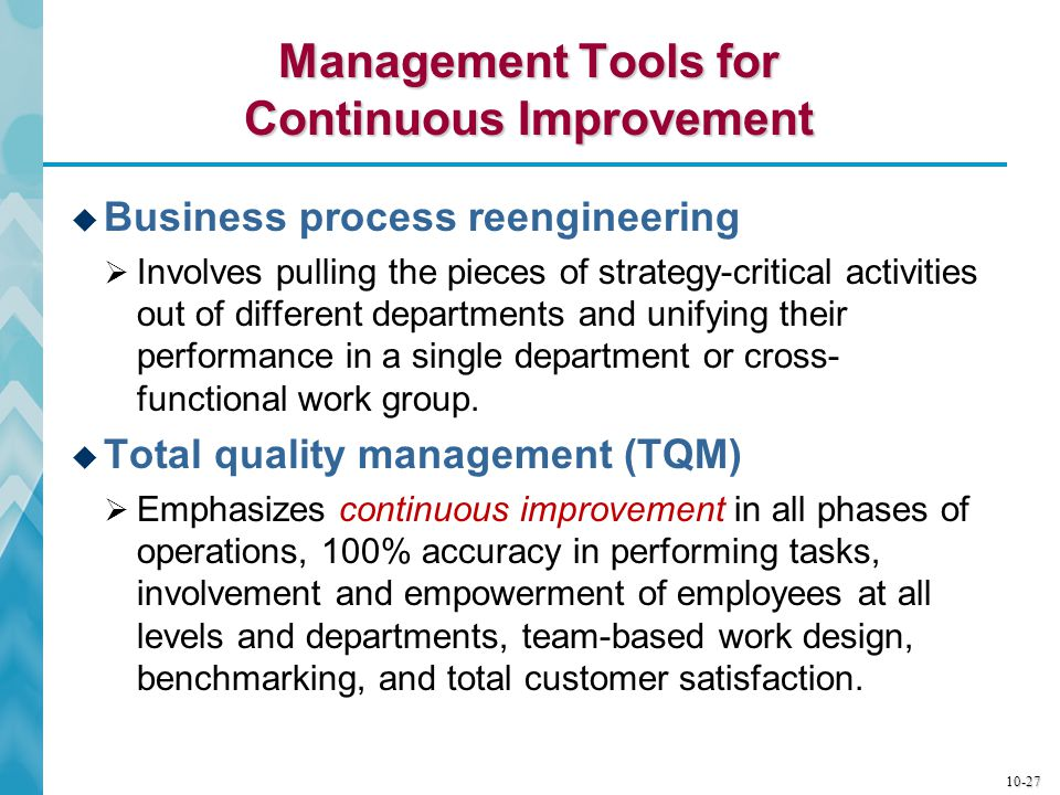 Management Tools for Continuous Improvement