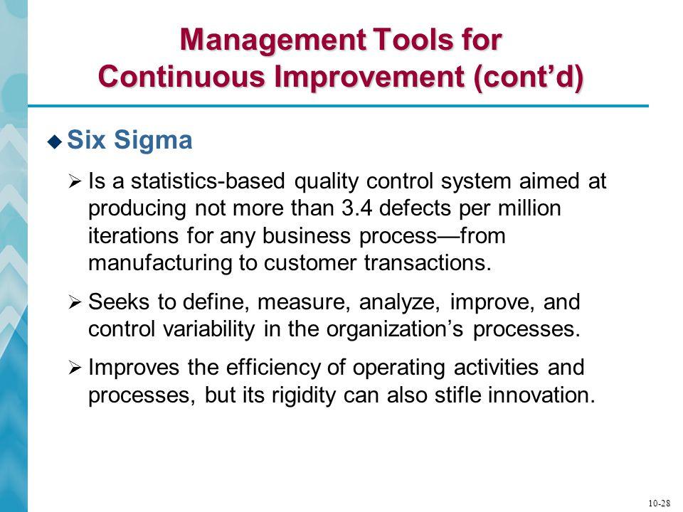 Management Tools for Continuous Improvement (cont'd)