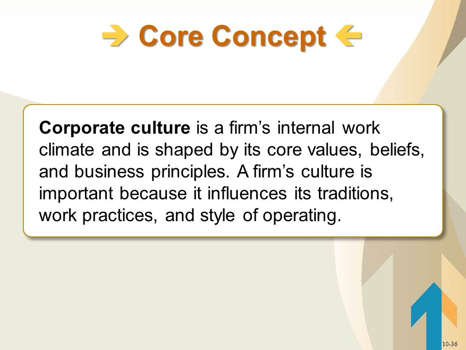 Corporate culture is a firm's internal work climate and is shaped by its core values, beliefs, and business principles.