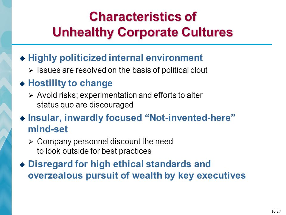 Characteristics of Unhealthy Corporate Cultures