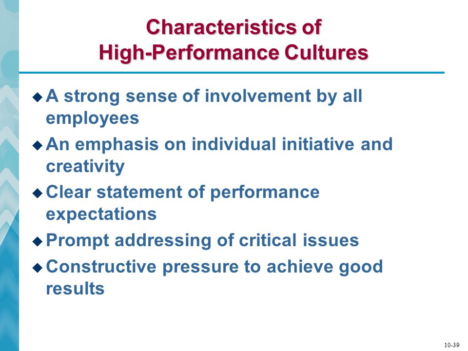 Characteristics of High-Performance Cultures