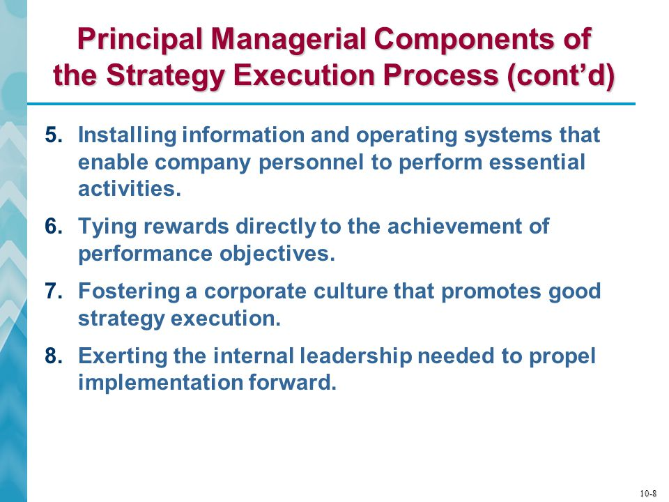 Principal Managerial Components of the Strategy Execution Process (cont'd)