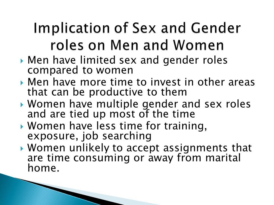 Implication of Sex and Gender roles on Men and Women