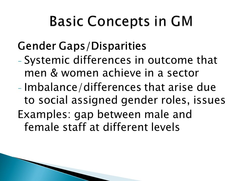 Basic Concepts in GM Gender Gaps/Disparities
