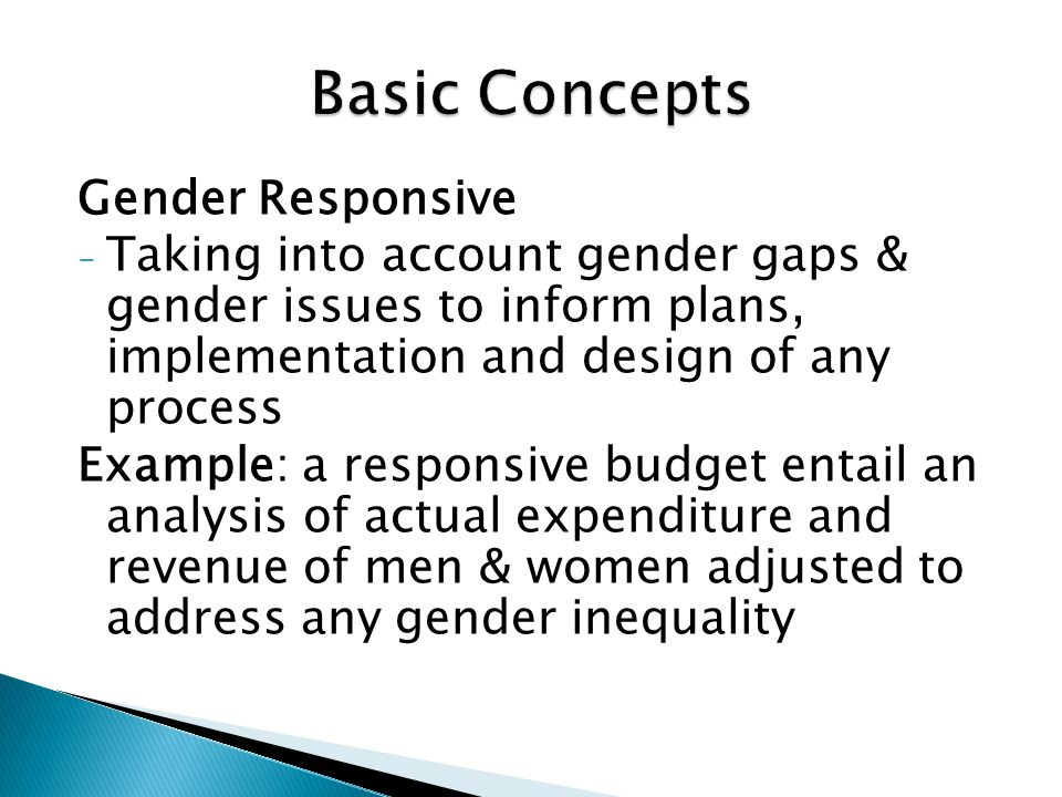 Basic Concepts Gender Responsive