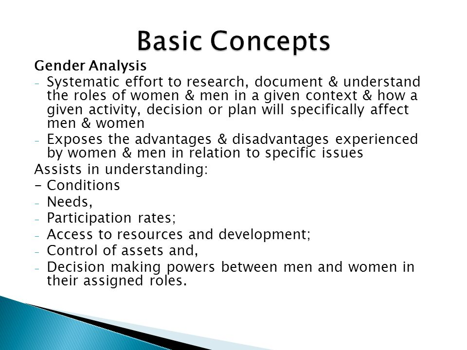 Basic Concepts Gender Analysis