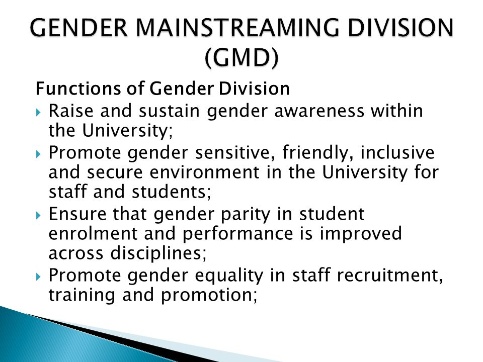 GENDER MAINSTREAMING DIVISION (GMD)
