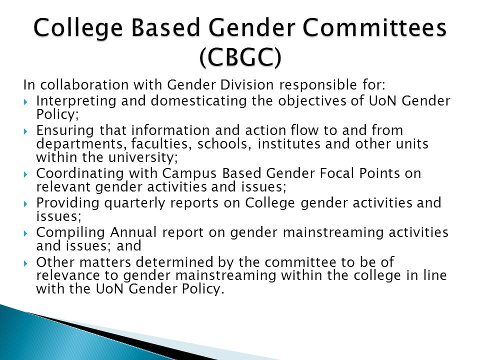 College Based Gender Committees (CBGC)