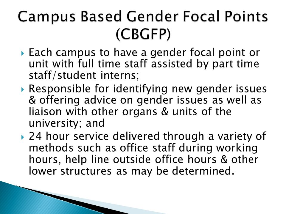 Campus Based Gender Focal Points (CBGFP)