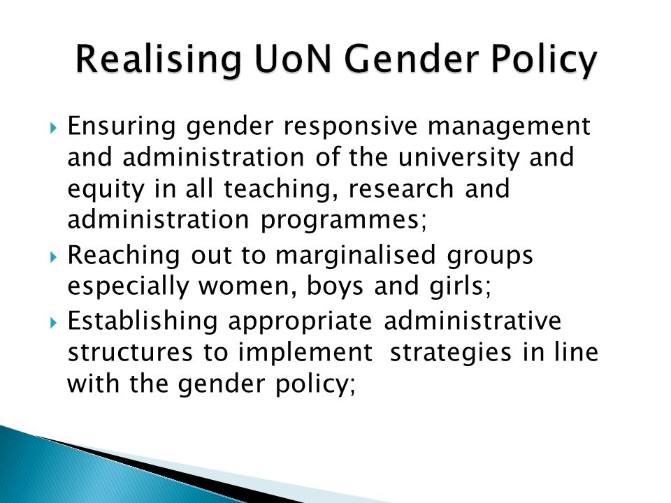 Realising UoN Gender Policy