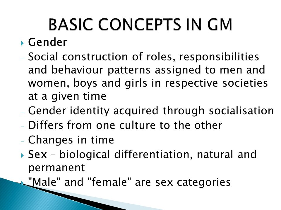 BASIC CONCEPTS IN GM Gender