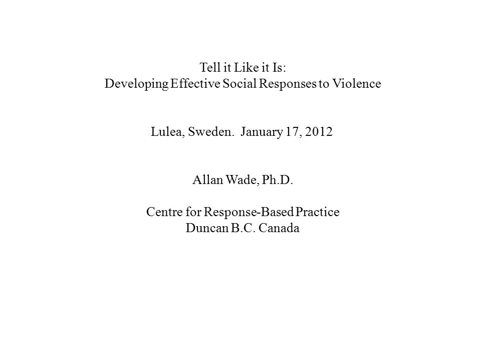 Developing Effective Social Responses to Violence
