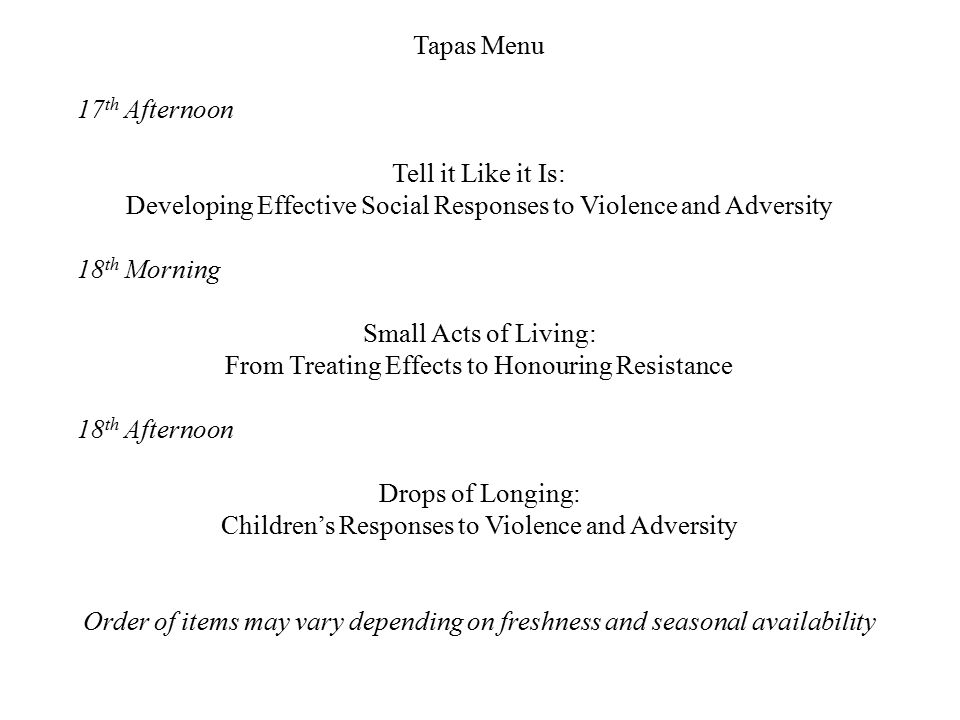 Developing Effective Social Responses to Violence and Adversity