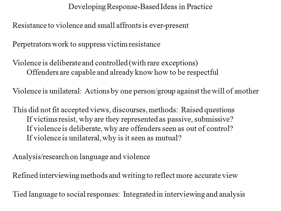 Developing Response-Based Ideas in Practice