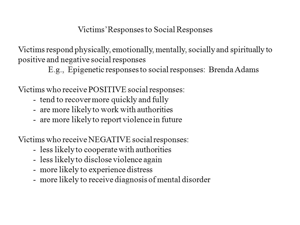 Victims' Responses to Social Responses