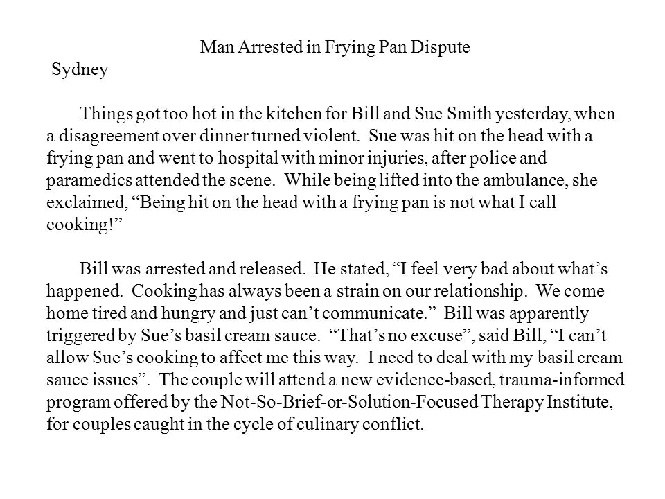 Man Arrested in Frying Pan Dispute