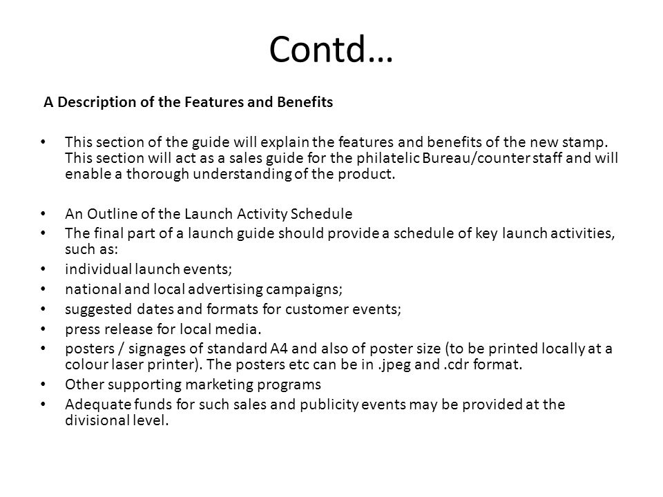 Contd… A Description of the Features and Benefits