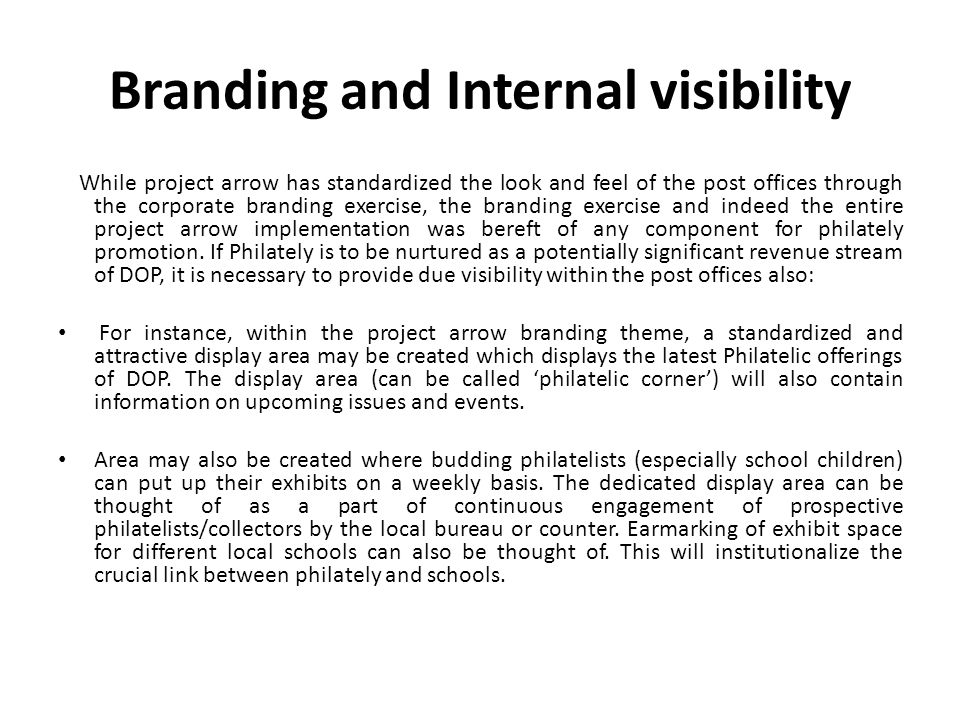 Branding and Internal visibility