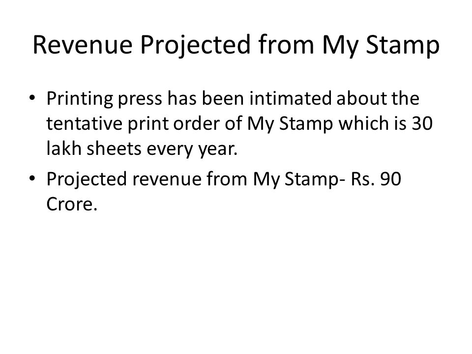 Revenue Projected from My Stamp