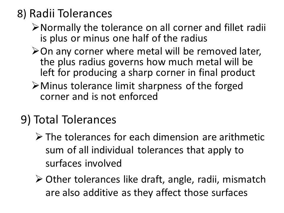 9) Total Tolerances 8) Radii Tolerances